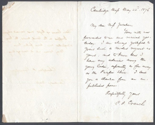 24: CRANCH, CHRISTOPHER (1813-1892) SIGNED LETTERS AND