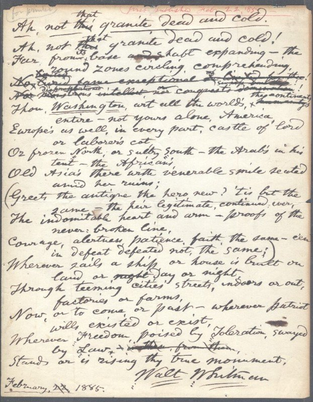 27: WHITMAN, WALT (1819-1892) MANUSCRIPT POEM