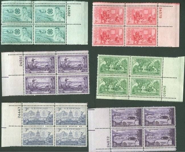 APPROX  500 US PLATE BLOCK STAMPS