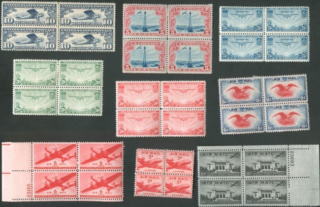 APPROX  400 US PLATE BLOCK STAMPS