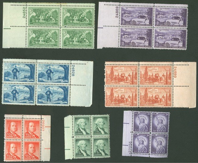 OVER 500 US PLATE BLOCK STAMPS
