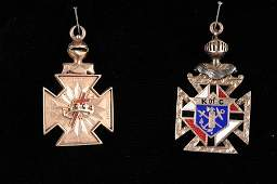 TWO MASONIC GOLD AND ENAMEL PENDANTS