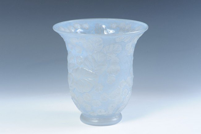 PHOENIX SCULPTURED PRIMROSE ART GLASS VASE