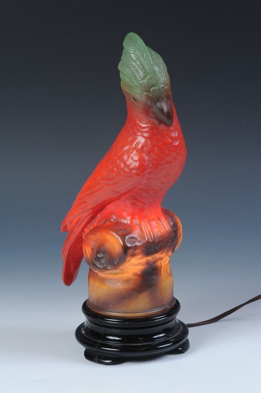 A TIFFIN GLASS PARROT FIGURAL LAMP