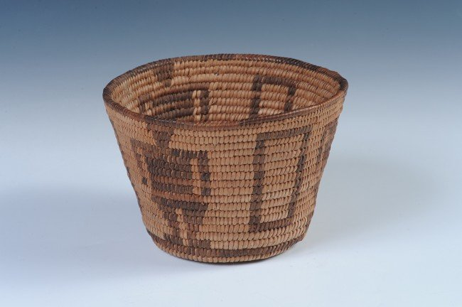 A GOOD SMALL APACHE BASKET WITH FIGURES