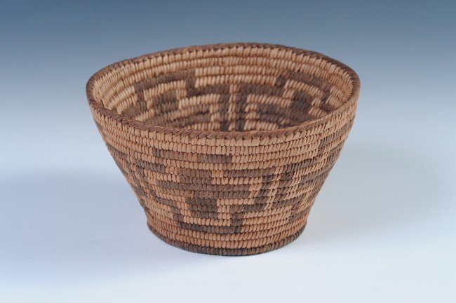 A PIMA INDIAN BASKET WITH CROSSES