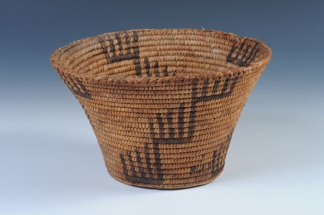 A 5 x 9 INCH PAPAGO BASKET WITH STEPPED DESIGNS