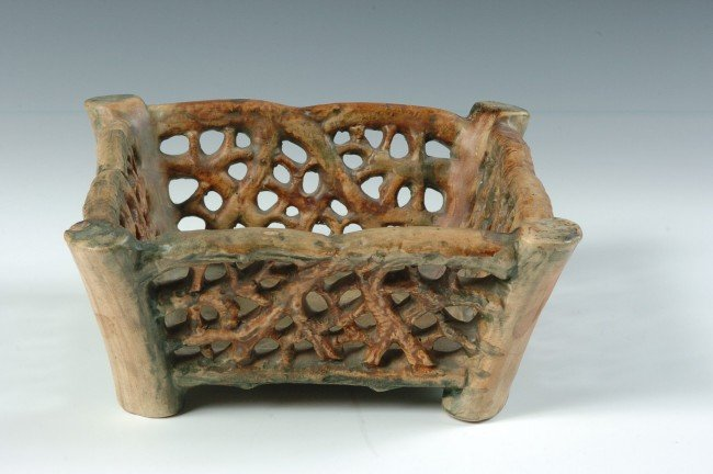 A WELLER WOODCRAFT ART POTTERY BASKET/BOWL