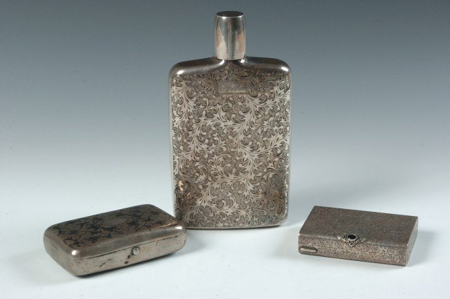 LOT OF ESTATE STERLING SILVER, RUSSIAN FLASK, COMPACT,