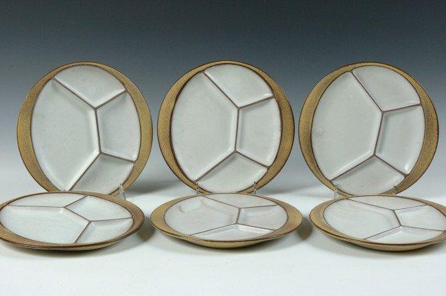 SIX BUCKEBERG POTTERY DIVIDED PLATES CIRCA 1960's