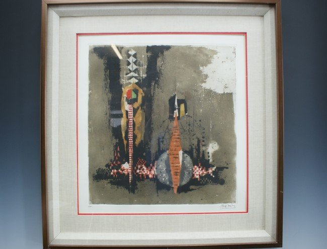 A FRIEDLANDER PENCIL SIGNED ABSTRACT ETCHING