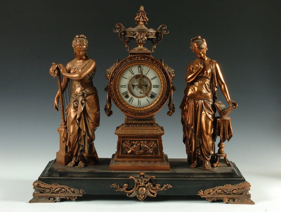 ANSONIA 'MUSIC AND POETRY' DOUBLE STATUE CLOCK