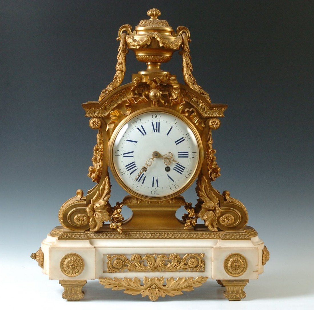 A FABULOUS CHARPENTIER BRONZE DORE & MARBLE CLOCK WITH
