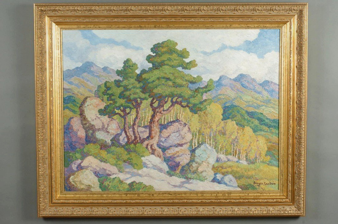 BIRGER SANDZEN OIL ON PANEL, ROCKY MOUNTAINS COLORADO