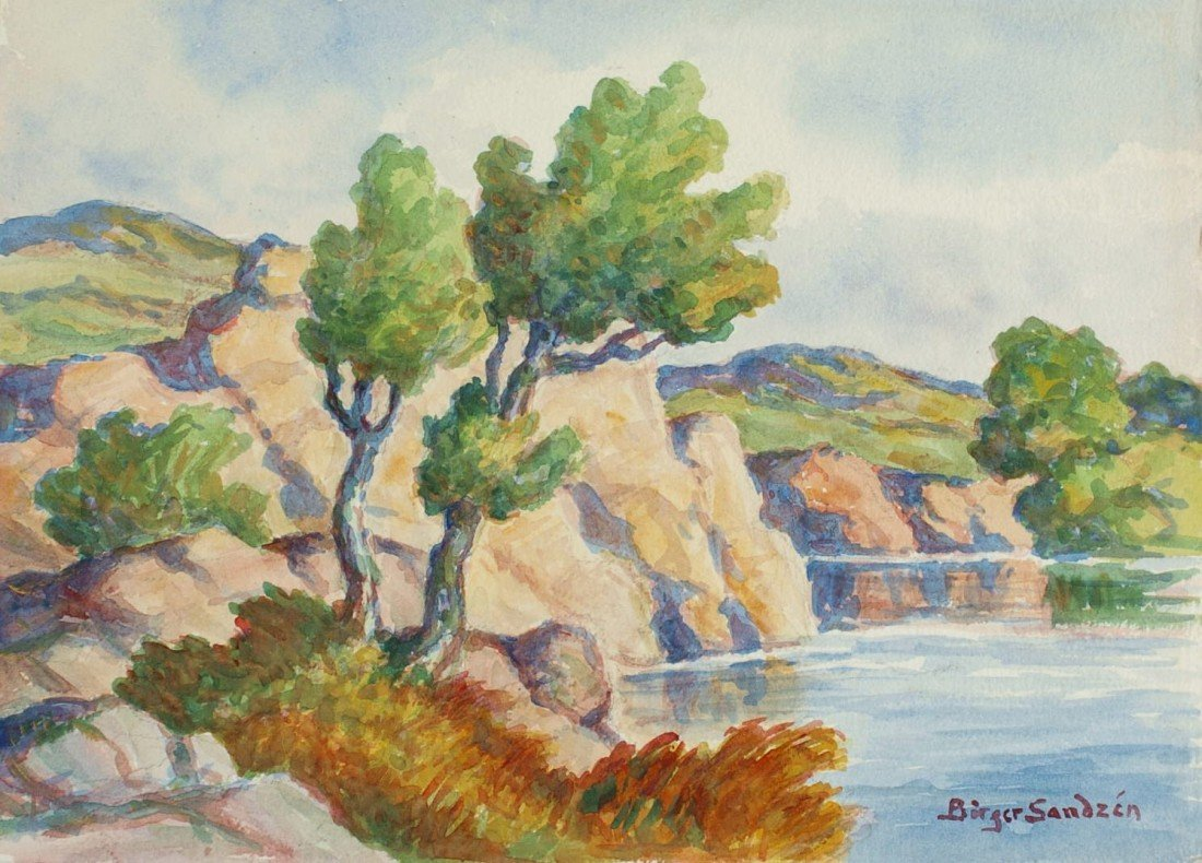 BIRGER SANDZEN WATERCOLOR, GRAHAM COUNTY KANSAS