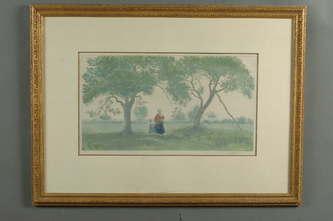 EUGENE DELARTE PENCIL SIGNED ETCHING 'LES POMMIERS'