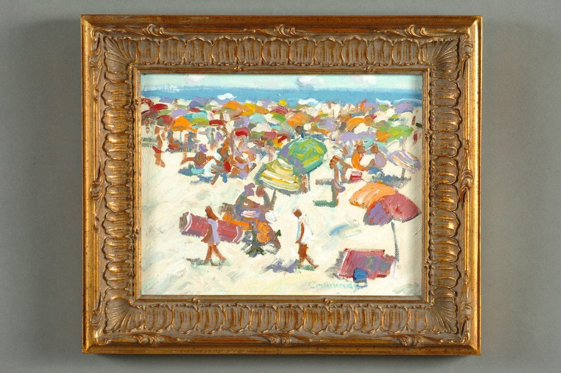 AN OIL ON CANVAS BEACH SCENE SIGNED CRIMMINS