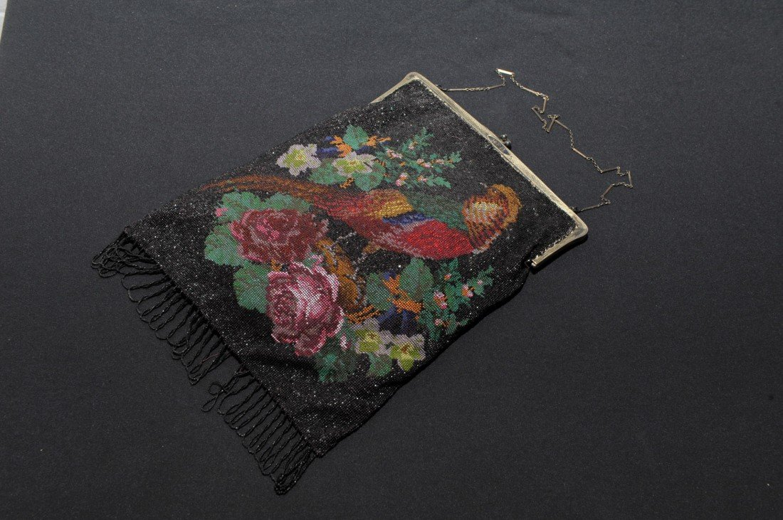 LARGE FINE VICTORIAN BEADED PURSE W/PHEASANT