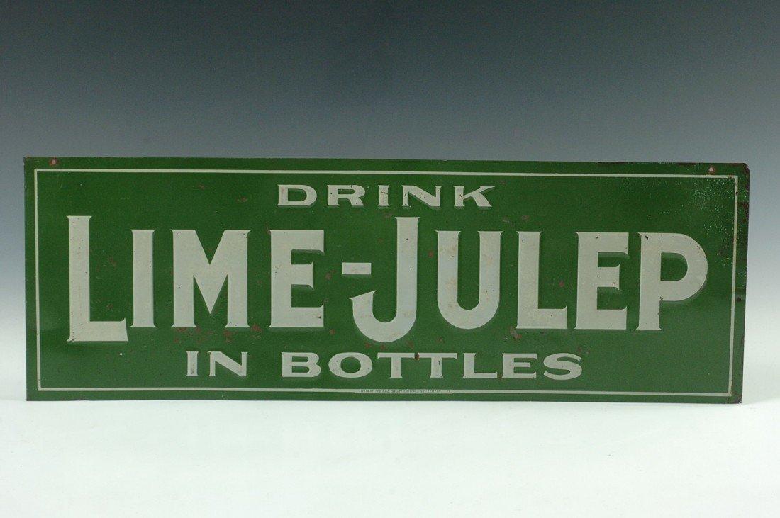 A VINTAGE 'DRINK LIME-JULEP' ADVERTISING SIGN