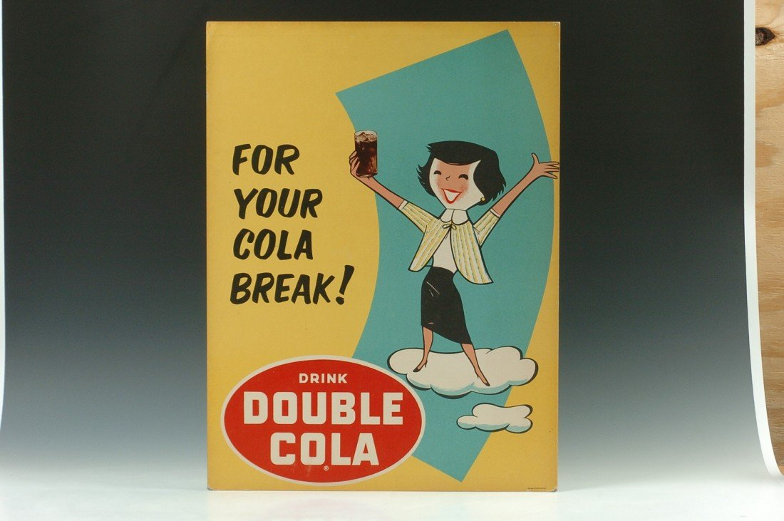DRINK DOUBLE COLA CARDBOARD ADVERTISING SIGN