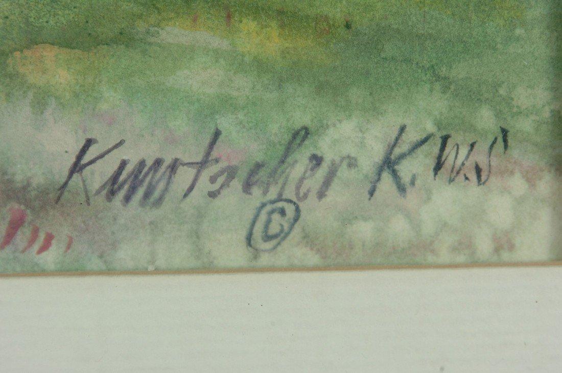 SIGNED WATERCOLOR BY KLAUS KUNTSCHER KANSAS WATERCOLOR  - 7