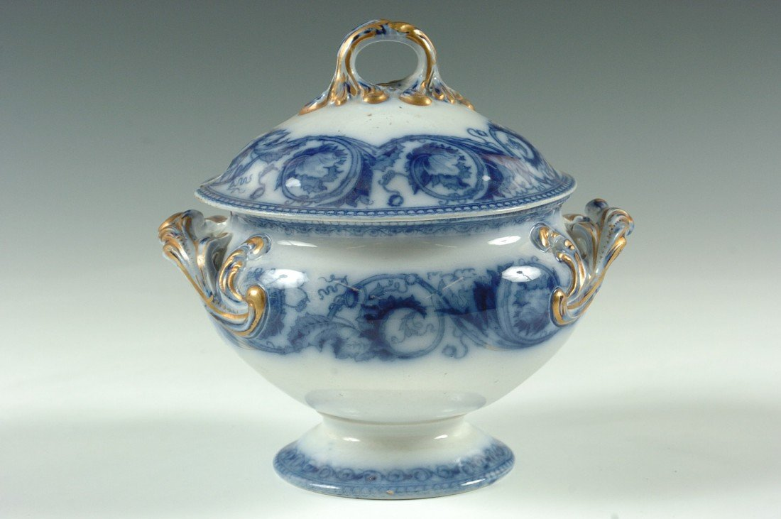 EARLY FLOW BLUE SAUCE MARKED WEDGWOOD PEARL