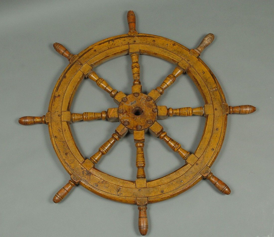 A 19TH C. SHIP'S WHEEL IN ORIGINAL OCHRE YELLOW PAINT