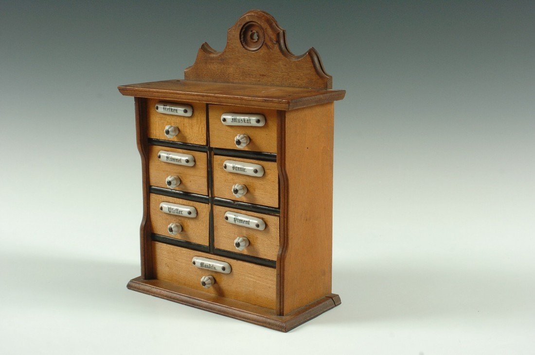SMALL ANTIQUE SPICE CABINET WITH ENAMEL TAGS