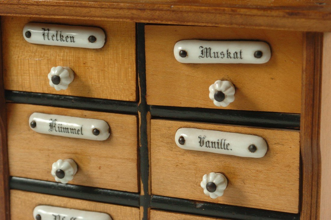 SMALL ANTIQUE SPICE CABINET WITH ENAMEL TAGS - 2