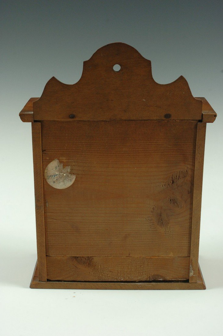 SMALL ANTIQUE SPICE CABINET WITH ENAMEL TAGS - 4
