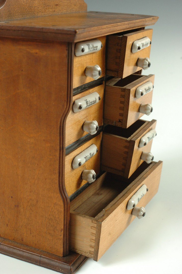 SMALL ANTIQUE SPICE CABINET WITH ENAMEL TAGS - 5