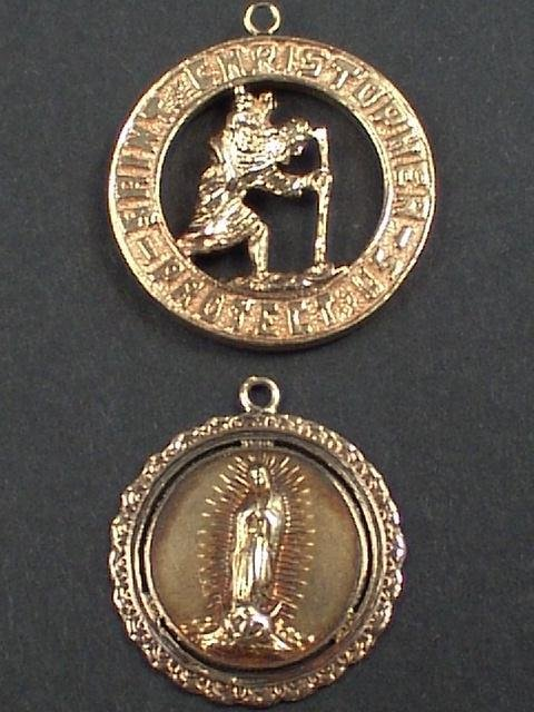 310: 2 GOLD CHARMS-RELIGIOUS ST. CHRISTOPHER & MARY