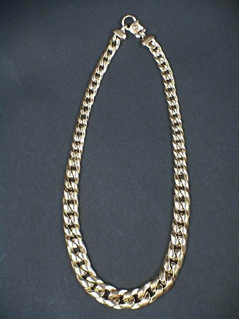 319: 14K GRADUATED YELLOW GOLD LINK CHAIN NECKLACE