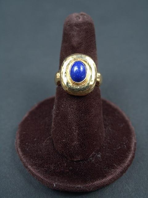 321: LADIES 14K YELLOW GOLD RING WITH OVAL LAPIS IN BEZ