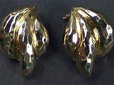 347 PAIR HENRY DUNAY 18K YELLOW GOLD FACETED EARRINGS