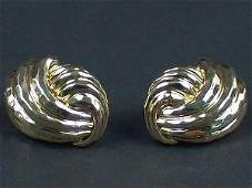 367 PAIR HENRY DUNAY 18K YELLOW GOLD EAR CLIPS