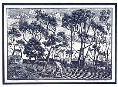 522 1929 PENCIL SIGNED WOOD ENGRAVING BY NEW YORK ARTI