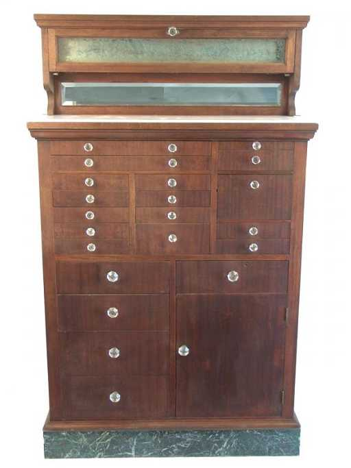 - 919: ANTIQUE DENTAL CABINET WITH MILK GLASS TOP AND MAR