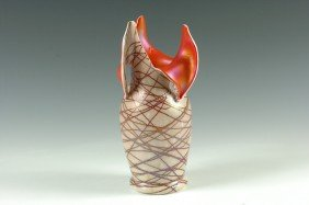 A CUT AND FOLDED KRALICK AUSTRIAN ART GLASS VASE