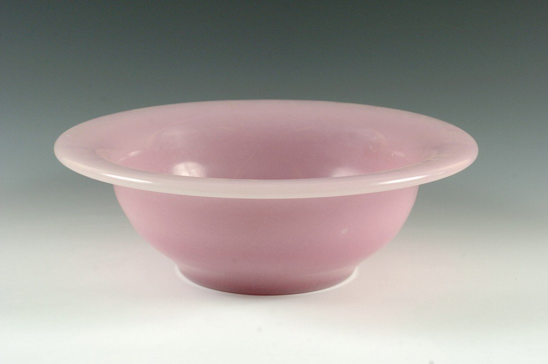 A LARGE PINK ALABASTER GLASS BOWL