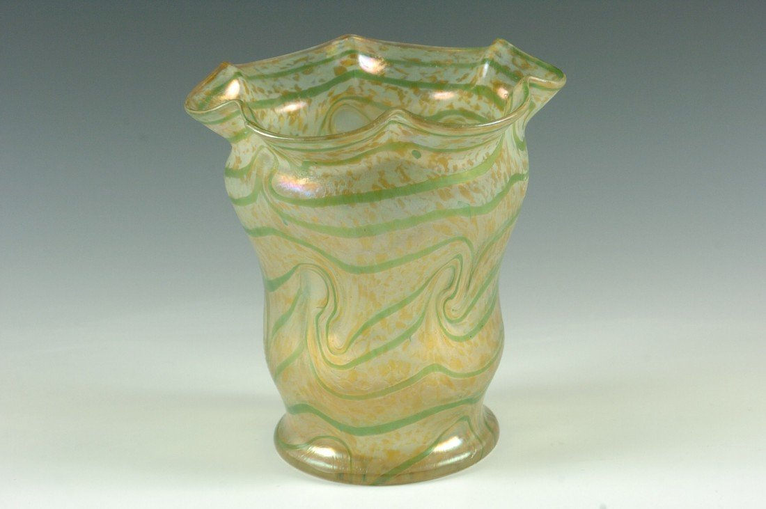 AN AUSTRIAN ART GLASS VASE WITH POLISHED PONTIL