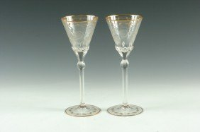 A FINE PAIR OF MOSER QUALITY INTAGLIO CUT STEMS