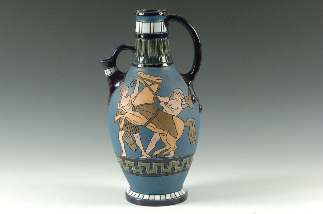 AN AMPHORA ART DECO ENAMEL PAINTED EWER