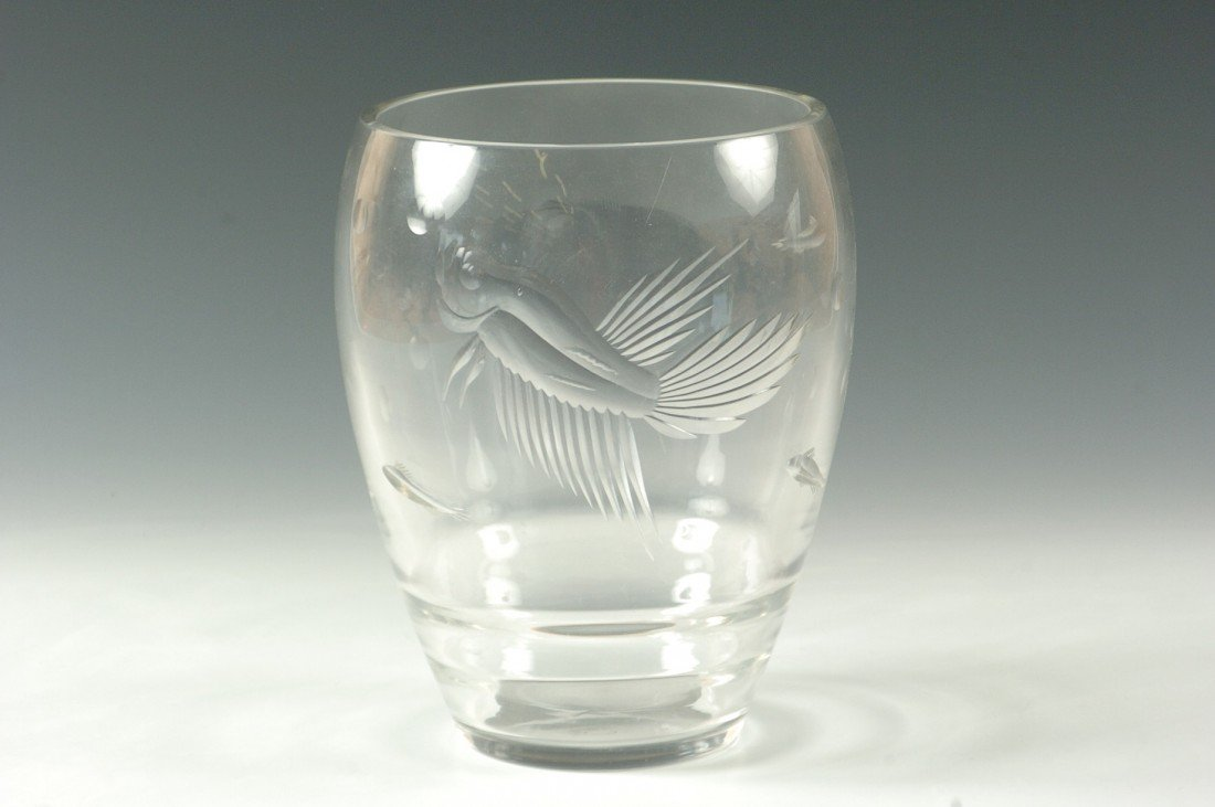 AN ART DECO CUT AND ENGRAVED GLASS VASE