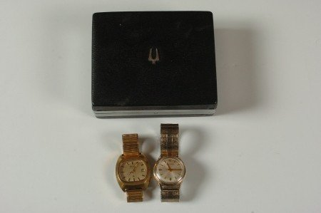 TWO BULOVA ACCUTRON WATCHES AND ACCUTRON BOX