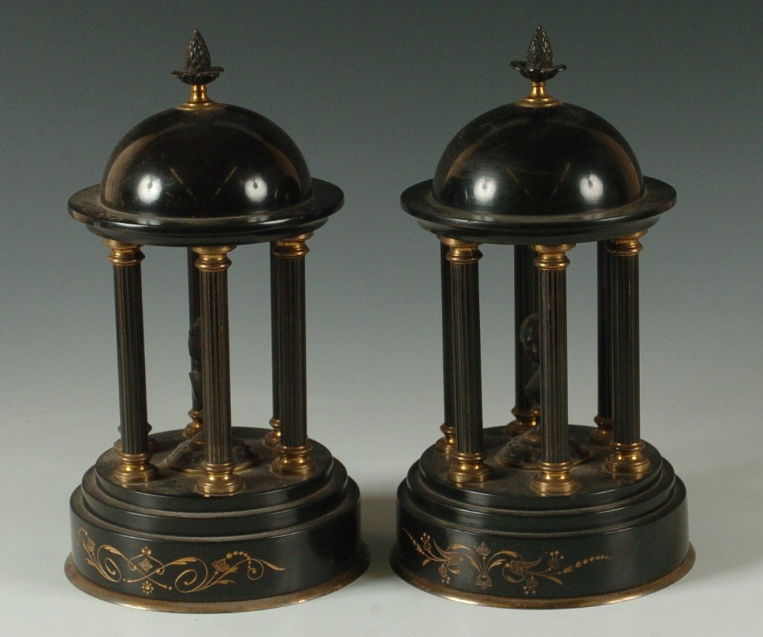 A PAIR OF VICTORIAN BRONZE & SLATE MANTLE ORNAMENTS