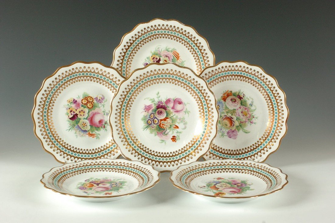 SIX 19TH C. HAND PAINTED PORCELAIN PLATES