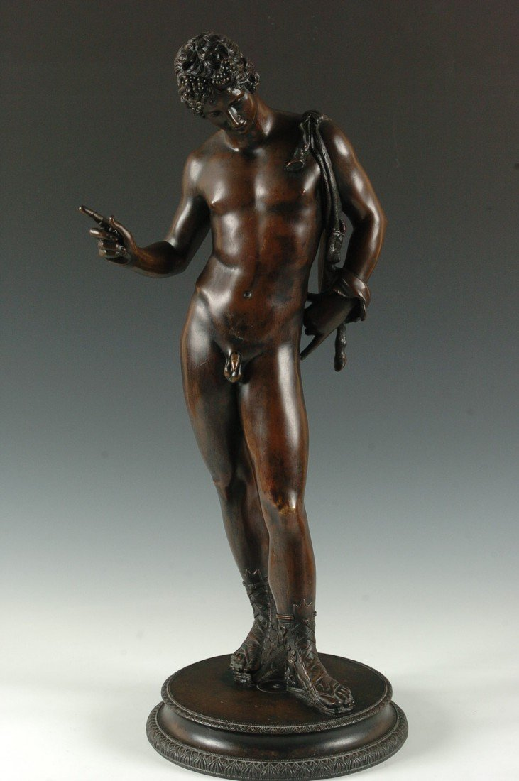 A GRAND TOUR 19TH C. BRONZE SCULPTURE OF NARCISSUS