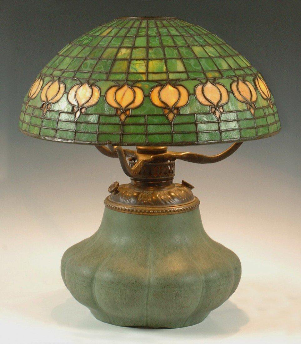 TIFFANY STUDIOS HAMPSHIRE POTTERY  LEADED  LAMP SIGNED