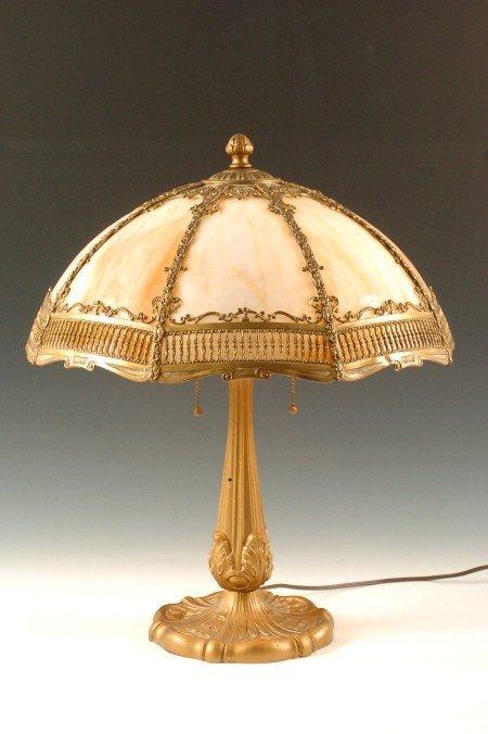 CIRCA 1920'S SLAG GLASS TABLE LAMP